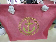 Summer Beach Large Tote Bag With Embroidered Anchor NWT