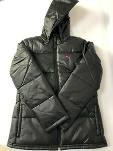 PUMA Junior Girls Padded Winter Coat/Jacket With Removable Hood Full Zip Pockets