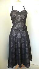 10-12 Black / Lilac 1940s Vintage Dress, Unique. Handmade New