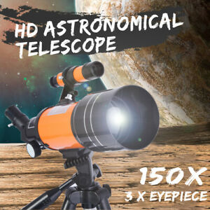 HD Astronomic Telescope Space Refractor Adjustable Tripod Lens Covers Night 150X