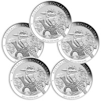 5 x 2019 Kookaburra 1oz Silver Bullion Coin