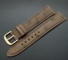 FINE Men's 20mm Cocoa Ostrich Watch Band/Strap