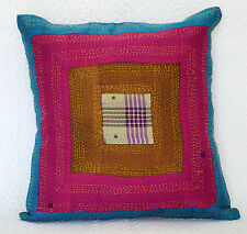 Ethnic Indian Silk Patchwork Kantha Stitch Cushion Cover Handmade Pillow Case 16