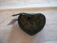 COACH WOMANS HEART BLACK LIQUID GLOSS JEWELRY POUCH / BOX CASE 65385  NWT