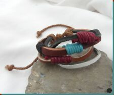 Bracelet Porte Bonheur Style Surfeur Cuir Multirangs Chanvre Multicolore