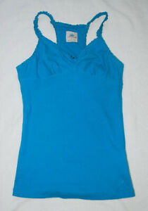 Juniors SO Blue Ruffle Strap Tank Top (L)