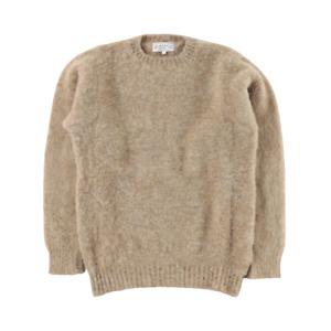 Shetland Woollen Co Shaggy Knit Crew Neck Sweater Small Camel Jumper BNWT
