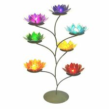 Lotus Flower Candle Holder Set With a Metal Tree Stand