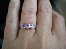 GEMPORIA 1.34ct Natural Purple Sapphire & White Zircon 9K Gold Ring - Size J-K