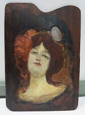 ölbild / porträt einer jungen dame auf einer malpalette / um 1900 / burlesque