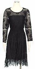 American Rag Cie Black Dress Size 1X Nylon Handkerchief Hem Lace Women's New*