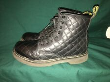 Dr Doc Martens Size 4 US Corlaney AW004 Leather Zip Air Wair Boots Black Quilted