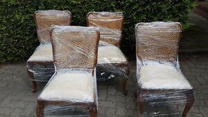 4 Stühle Chippendale beige Antik Barock mit Geflecht