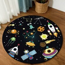 Modern Round Area Rug/Carpet Non Slip Childrens Outer Space Theme