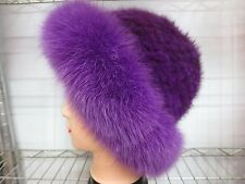Fashion Elegant  / lady 's Real Mink Fur knitted  with Fox fur  cap/hat/ violet