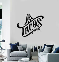 Vinyl Wall Decal Tacos Mexican Cuisine Food Sombrero Stickers Mural (g560)
