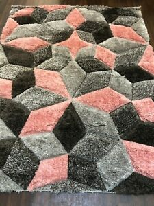RUGS TOP QUALITY WOVEN 3D DESIGN LUXURY RUG PINK-GREY 120X160CM APP 6X4FT CUBES