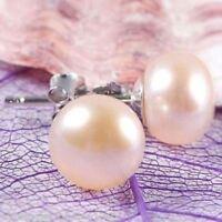 Hot 10-11mm Pink Genuine Freshwater Pearl Silver Stud Earrings AAA