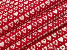 RED AND WHITE CHRISTMAS HEARTS NOEL POLYCOTTON FABRIC 112cm WIDE PER METRE