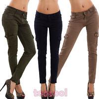 Jeans donna pantaloni cargo tasche skinny aderenti elasticizzati nuovi DF9976