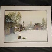 Vintage Gene Speck Fine Art Print Winter Farm Nevada 20x16 Unframed