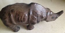 """Vintage 13"""" Rhino Detailed Brown Leather Rhinoceros with Glass Eyes"""