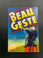 Beau Geste Crate Label California Orange Citrus ~ Vintage