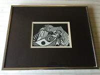"Original Pen Ink Drawing by Dore Supia (?) 1987, Signed & Framed, 6"" x 4"" Image"