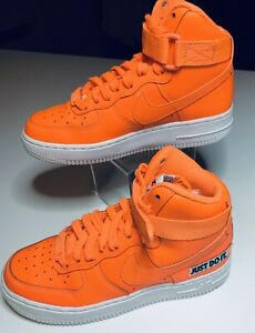 Nike AIR FORCE 1 High Top Total Orange LV8 GS 'JUST DO IT' JDI Size 4Y Youth Kid