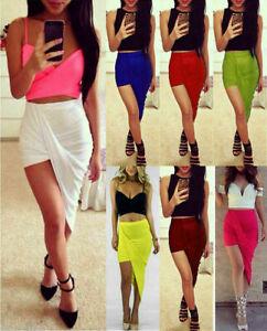 New Ladies Maxi Skirt Mini Wrap Asymmetrical Stretch Bodycon Club