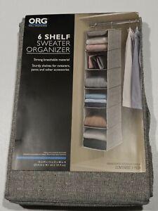 Richards Homewares Storage Canvas 6 Shelf Sweater Organizer - Gray