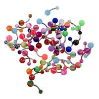 50 MIX Assorted Ball Belly Navel Barbell Bars Rings Body Piercing E8M6