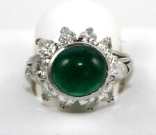 Oval Cabochon Emerald & Pear Diamond Solitaire Ring Platinum 13.50Ct