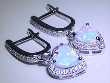 STERLING SILVER (925) OPAL HEART CABOCHON LADIES DROP EARRINGS -