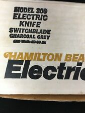 Vtg Hamilton Beach Scovill Electric Knife Switchblade Charcoal Grey Original Box