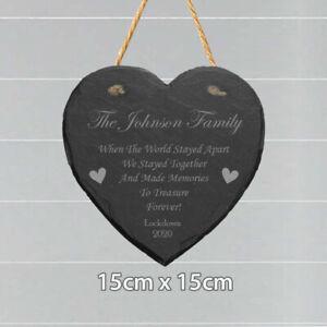 Personalised Family Name Heart Slate Home Plaque Sign Lockdown Memory Keepsake