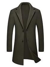 Mens Winter Single Breasted Double-Faced Fitted Long Wool-Blend Wrap Trench Coat