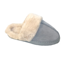 Ex M*S Blue Real Suede Mule Slippers Size UK 3