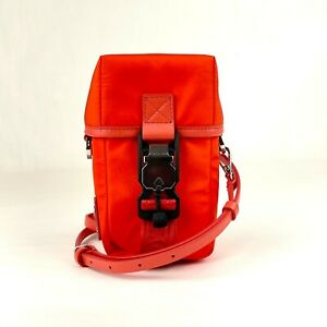 $650 MCM Orange Red Nylon Mini Flap Pouch Shoulder Waist Bag MXZ9SNX43OX001