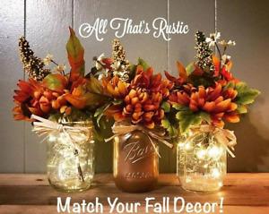 2 Fall Thanksgiving Orange Mum Floral Picks - Fall Decorations