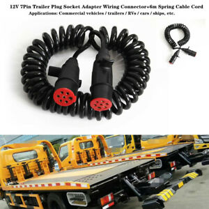 12V 7Pin Trailer Plug Socket Adapter Wiring Connector+6m Spring Cable Cord Part