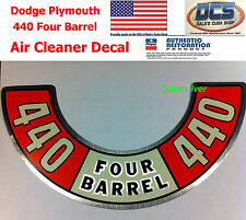 1972 1973 1974 Dodge Plymouth 440 Four Barrel Air Cleaner Decal NEW MoPar USA