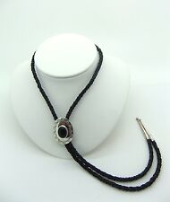 Vintage Spencer Native American Leather Bolo Tie with Black Onyx Stone C1970's