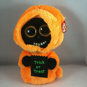 Ty Beanie Boos GRINNER the Halloween Orange Ghoul (Medium Size 9 Inch) NEW MWMTS