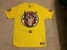 JOHN CENA WWE AUTHENTIC U CAN'T C ME NEVER GIVE UP YELLOW SHIRT XL NEW