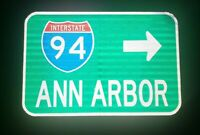 Interstate 94 ANN ARBOR route road sign - University of MICHIGAN, Interstate 94