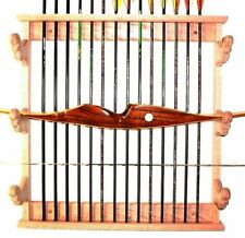 Oak Wooden 3 Place Bow Rack & Arrows Archery Wall Mount Display - Walnut Finish