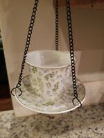 2019 HANGING Cup And Saucer Bird Feeder GREEN/BLUE FLORAL DESIGN JO-ANN STORES