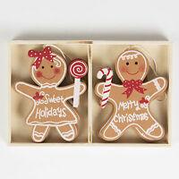 Christmas Tree Decorations Set Of 4 Gingerbread Boy Girl Fun Children Decoration