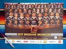 ✺New✺ 2017 BRISBANE BRONCOS NRL Poster & Fixture Pen - 42 x 29.5cm
